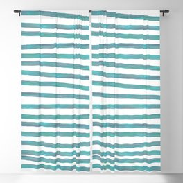 Ocean Green Hand-painted Stripes Blackout Curtain