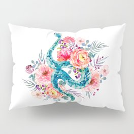 Blue Watercolor Snake In The Flower Garden Pillow Sham
