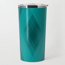 Ice triangular strokes of intersecting crisp lines with light blue triangles and stripes. Travel Mug