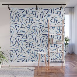 Blue Bamboo Leaves Wall Mural