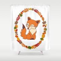 kawaii Shower Curtains featuring Kawaii fox  by Pendientera