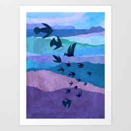 Blue Mountains Bird Flight Art Print