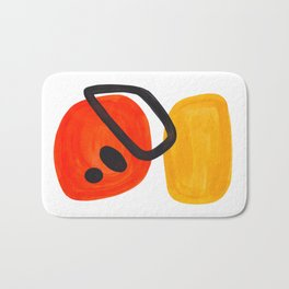Midcentury Modern Colorful Abstract Pop Art Space Age Fun Bright Orange Yellow Colors Minimalist Bath Mat