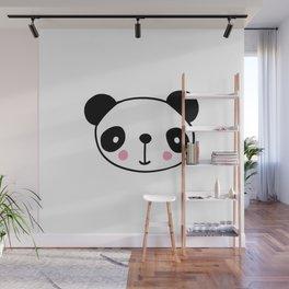 Cute panda head in black and white Wall Mural