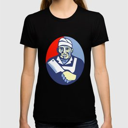 Butcher Cutter Meat Cleaver Knife Oval Retro T-shirt
