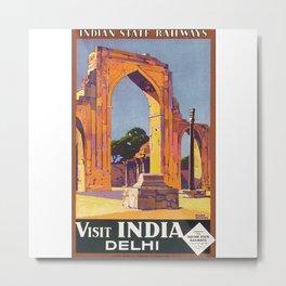 Visit Delhi Travel Poster Metal Print