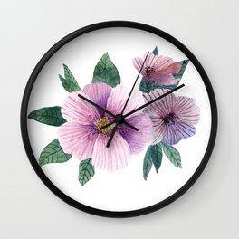 Simple pirple flowers Wall Clock
