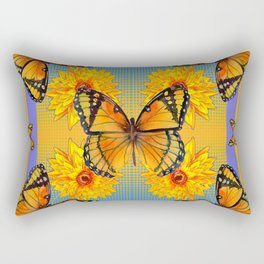 ORANGE-BLUE   BUTTERFLIES & YELLOW SUNFLOWERS Rectangular Pillow