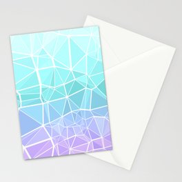 Cyan, Turquoise, and Purple Triangles Stationery Cards