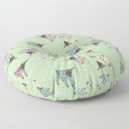 Pajama'd Baby Goats - Green Floor Pillow