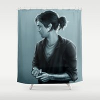 bucky Shower Curtains featuring Cold Hand, Warm Heart by Anne the Viking