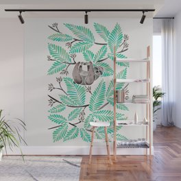 Happy Sloth – Tropical Mint Rainforest Wall Mural