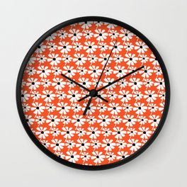 Daisies In The Summer Breeze - Orange White Black Wall Clock