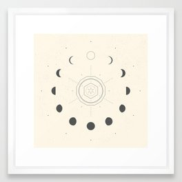 Moon Phases Light Framed Art Print