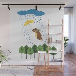 bear with umbrella Wall Mural