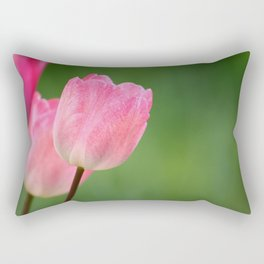 Pink tulips blossom close up- the spring is here Rectangular Pillow