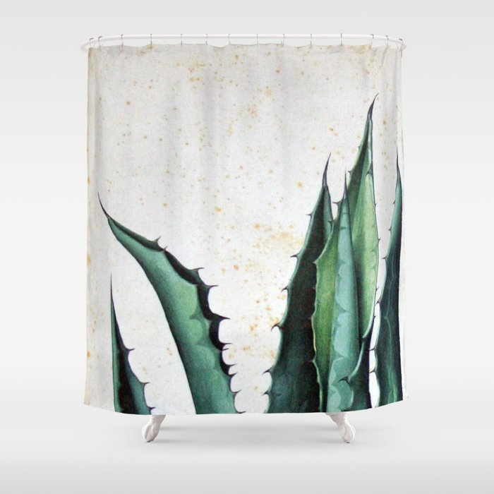Vintage Succulent Agave Aloe Cactus Antique Desert Botanical Print Boho Tribal Chic Shower Curtain By Igallery