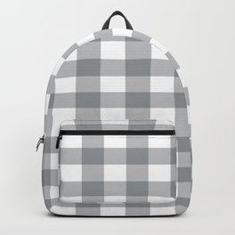 Gray and White Buffalo Plaid Pattern Backpack
