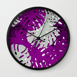 Asexual Pride Overlapping Monstera Leaves Pattern Wall Clock