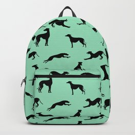 Greyhound Silhouettes on Mint Backpack