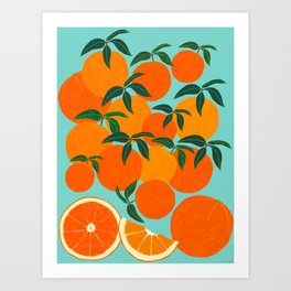Orange Harvest - Blue Art Print