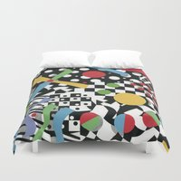 tape Duvet Covers featuring Ticker Tape by Patricia Shea Designs