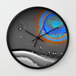 Abstract Landscape Series | Blue Moon Over Night Waters |  | Nadia Bonello Wall Clock