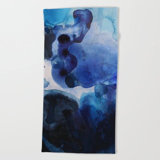 Indigo watercolor Beach Towel