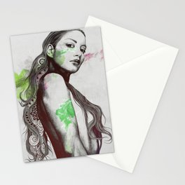 Cleansing Undertones: Acid Green | zentangle nude sexy girl portrait Stationery Cards