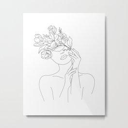 Female Head Of Flowers Metal Print