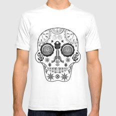 Steampunk Sugar Skull White SMALL Mens Fitted Tee