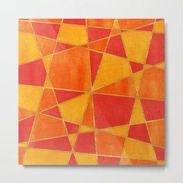 Abstract Watercolor Skewed Color Blocks - Red, Yellow, Orange Metal Print