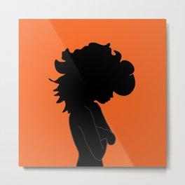 Wild Hair / Orange Black Illustration Metal Print