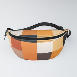 Geometric Pixel Squares - Black and Brown  Fanny Pack