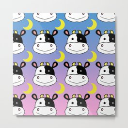 Happy Cow and Moon Pattern Metal Print