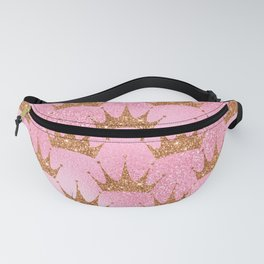 Princess Glitter Gold Crowns on Lollipop Pink Fanny Pack