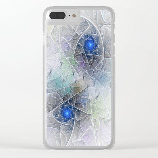 Little Blue Spirals Fractal Clear iPhone Case