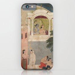 Radha and Krishna Seated on a Balcony - 18th Century Classical Hindu Art iPhone Case