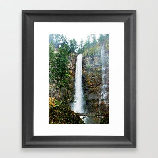 Multnomah Falls in Winter Framed Art Print