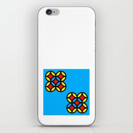 Colored Circles on Light Blue Board iPhone Skin