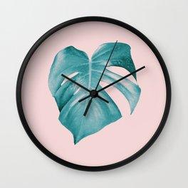 Monstera Leaf #2 #tropical #decor #art #society6 Wall Clock