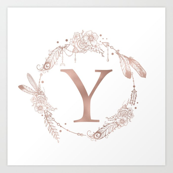 Letter Y Rose Gold Pink Initial Monogram Art Print by naturemagick | Society6