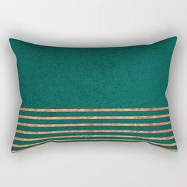 EMERALD COPPER GOLD BRASS STRIPES Rectangular Pillow