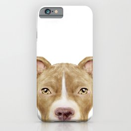 Pit Bull light Brown 2,Dog illustration original painting print iPhone Case