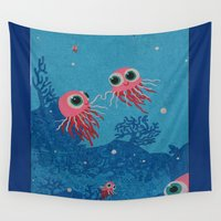 jelly fish Wall Tapestries featuring jelly fish under  water in the sea no empty spaces by KoZtar