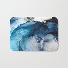 White Sand Blue Sea - Alcohol Ink Painting Bath Mat