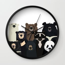 Bear family portrait Wall Clock