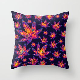 Psychedelic Cannabis Swirl Throw Pillow