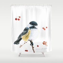 Christmas Chickadee by Teresa Thompson Shower Curtain