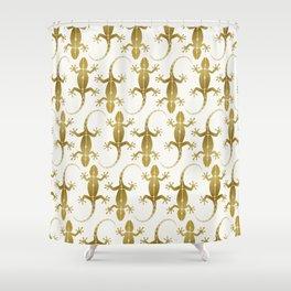 Cute Abstract Gecko Lizard Metallic Gold Shower Curtain